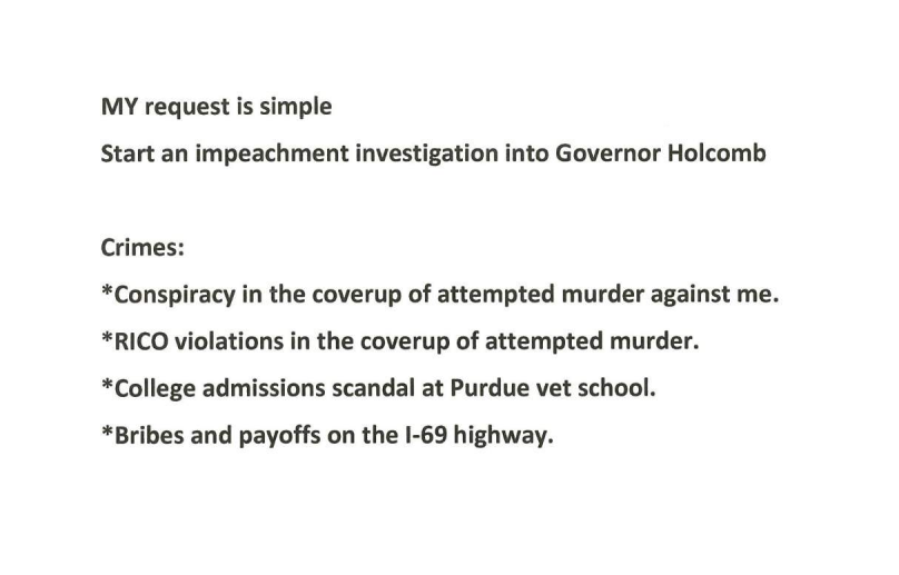 My Request is Simple: Start an Impeachment Investigation into Governor Holcomb